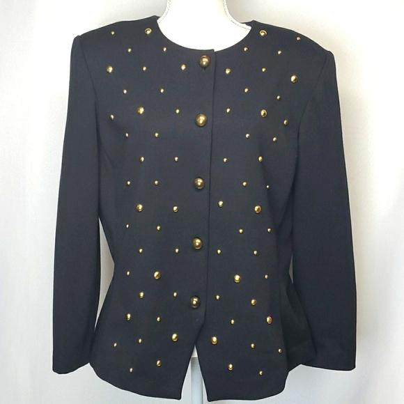 Vintage Leslie Fay studded button down jacket 14